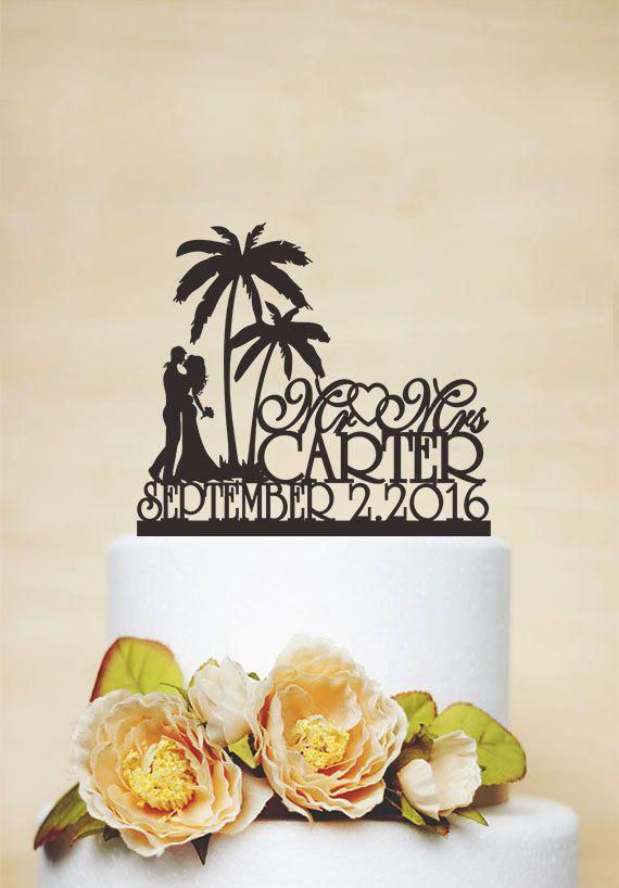 Mr & Mrs Wedding Cake Topper With Last Name,Beach Cake Topper,Acrylic Decoration,Palm Tree Topper,Custom Topper,Personalized Topper C134
