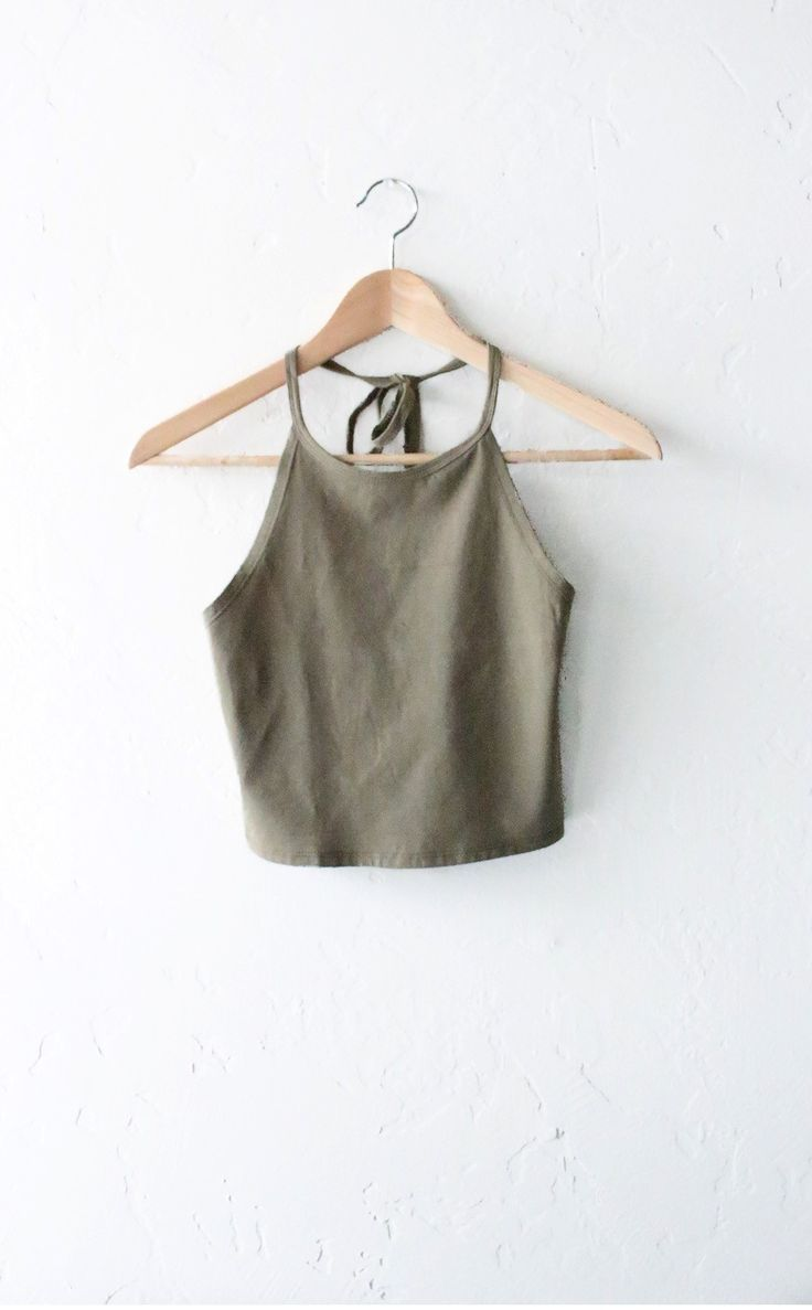 Halter Crop Tank Top - Olive