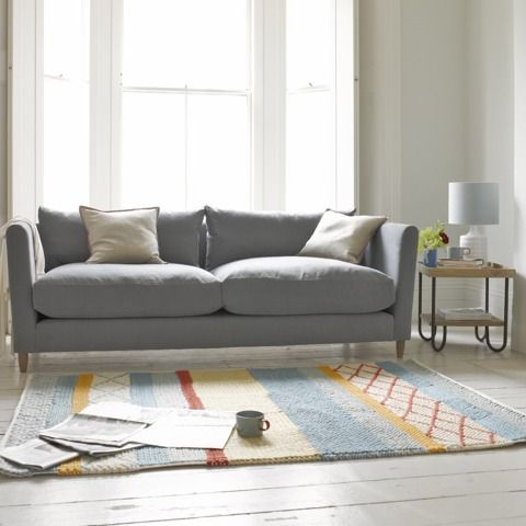 Flopster Sofa In Gun Metal Brushed Cotton With Knotty Rug