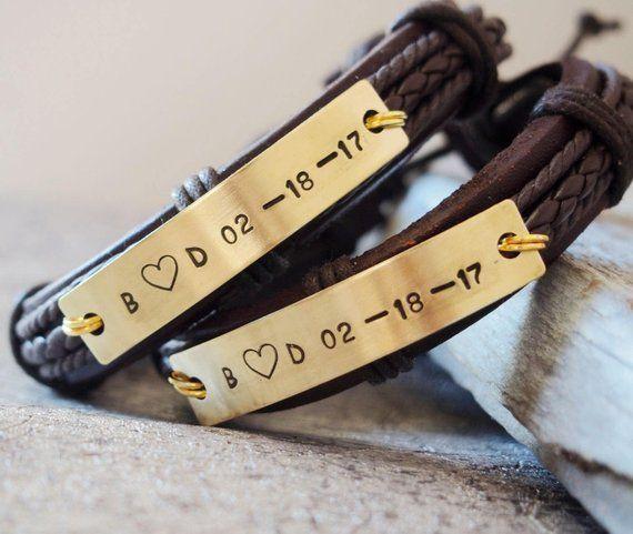 Personalisierte Armband für Paare, Paar Armbänder Lederset, Jubiläumsgeschenke für Paare, Cou…