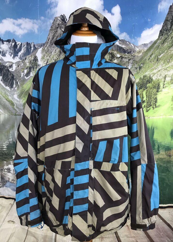 3e84c7db51 Details about Burton Dryride Mens Blue Brown Khaki Striped Hooded ...