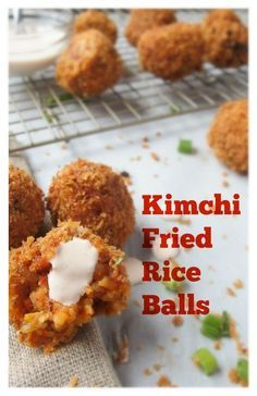 Kimchi Fried Rice Balls with Sriracha Crema - this recipe is easy to follow and so fun to eat. Kimchi, bacon, and rice mixed together and covered in panko makes for a crunchy, spicy, and savory bite! So YUM! | kimchichick.com