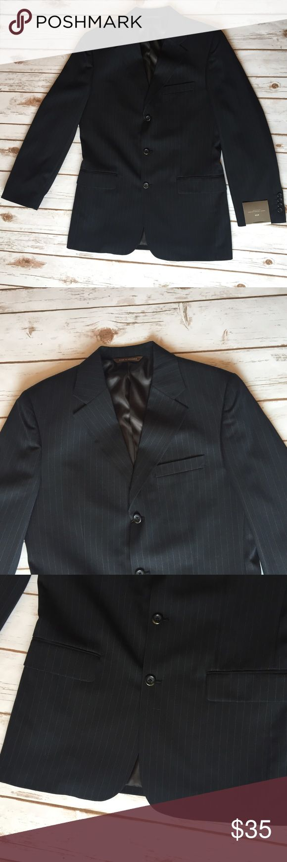 Merona Black Pinstripe Suit Jacket 38R Slight pinstripe suit jacket in black, matching pants also available in closet.  New with tags. Merona Suits & Blazers Suits