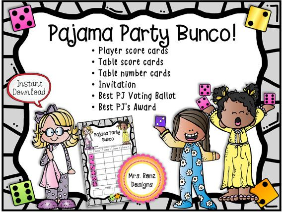 Host a fun Pajama Bunco Party with this set of materials! This set includes player score cards, table score cards, table number cards, party invitation, best PJs ballot, and best PJs award. You will get an instant download of 13 pages of PDF materials that you can print at home and use right away. There are 2 different player score card designs in two scoring options, plus table score cards and table number cards for up to 6 tables, and theres a party invitation. This set scores for 4…
