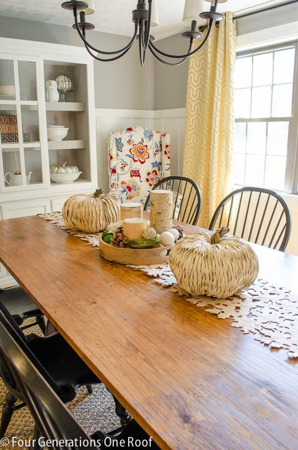 board and batten, paneling, dining room, farm table, gray dining room, farm house style,  Four Generations One Roof Fall Home Tour 2013