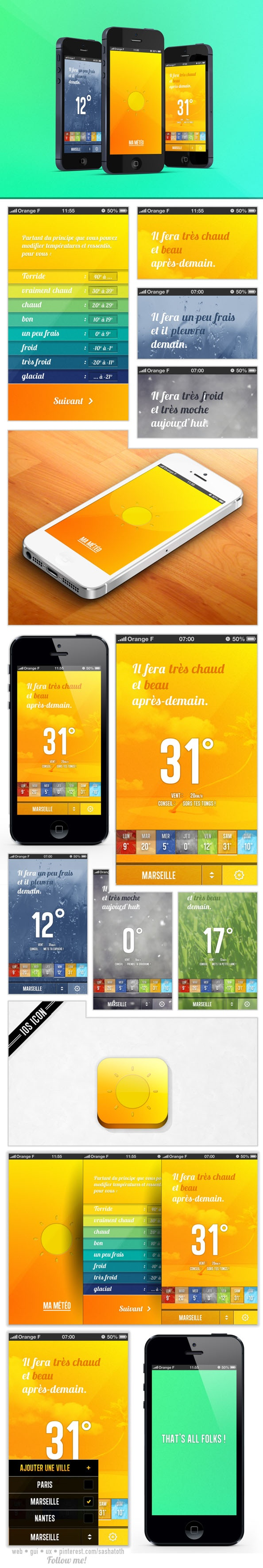 MaMétéo Weather App Concept by Ianis Soteras, via Behance #iphone #gui #weather #behance
