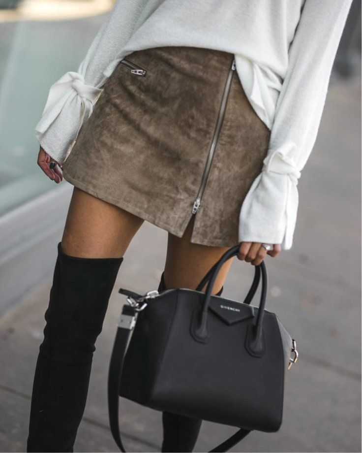 #fall #outfits brown suede mini skirt