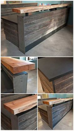 Modern rustic wood slab as bar top and reclaimed, with sides covered with rough hewn wood planks. || Reception Counter Solutions - Memphis Reception Desk