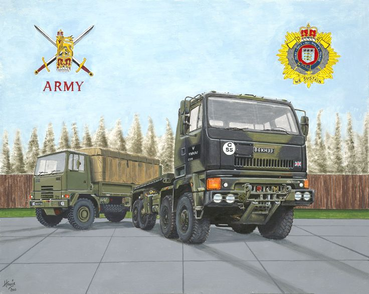 """A British Terratorial Army Regiment eight wheel drive DAF general transport vehicle with a four wheel drive """"Bedford"""" in the background. Medium: acrylic on 18"""" x 24"""" watercolor paper."""