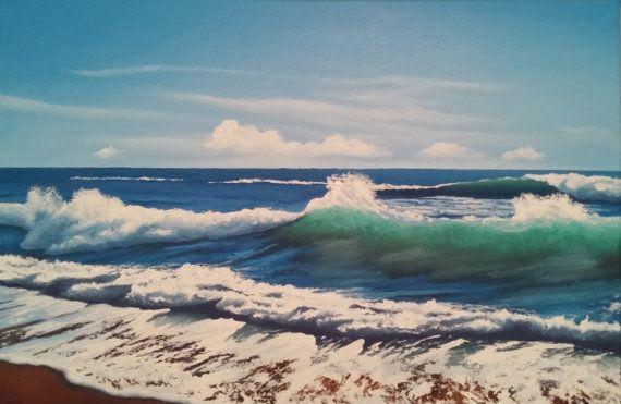 Olieverf schilderij op doek. Zee Golf van PBulavintsev op Etsy