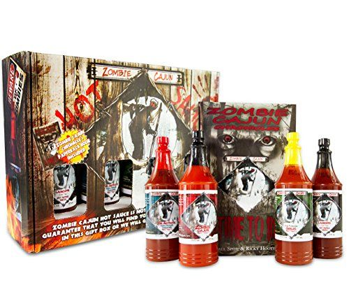 Zombie Cajun Hot Sauce Gift Set, Gourmet Basket Includes 4 (6oz) Bottles of the Best Louisiana Hot Sauce – Garlic, Jalapeno, Habanero, and Cayenne Pepper, Plus a Zombie Gifts Book only for $35.00 - http://howto.hifow.com/zombie-cajun-hot-sauce-gift-set-gourmet-basket-includes-4-6oz-bottles-of-the-best-louisiana-hot-sauce-garlic-jalapeno-habanero-and-cayenne-pepper-plus-a-zombie-gifts-book-only-for-35/