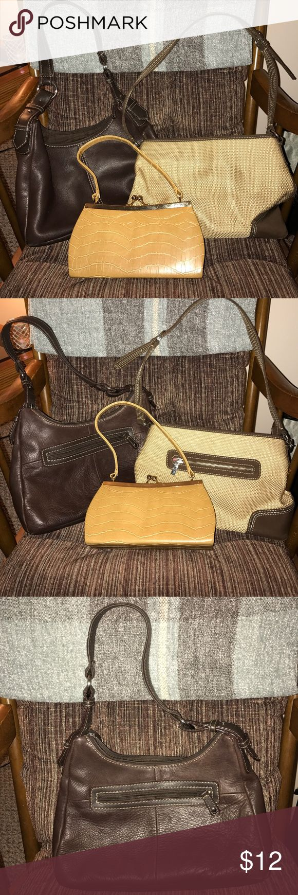 Bundle of used handbags Bundle of 3 used Handbags. One St. Johns Bay dark brown leather with vinyl trim bag, one Sak tan bag, and one small tan clutch. All are used with defects. Please ask questions for details. The Sak Bags