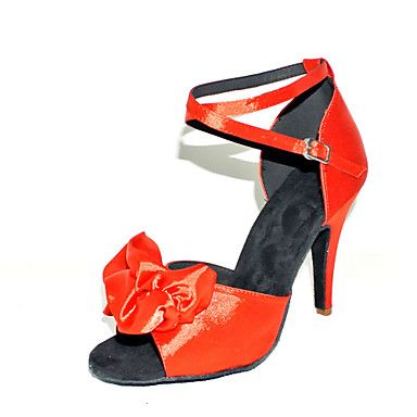 Customized Women's Satin Ankle Strap Latin / Ballroom Dance Shoes With Flower (More Colors) – USD $ 34.99