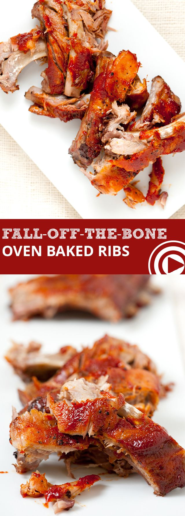 Easy Fall-Off-The-Bone Oven Baked Ribs with Video - Baking low and slow is the secret to these fall-off-the-bone oven baked ribs. Most of the recipe time is sitting back and relaxing waiting while the ribs bake. #ribs #dinner