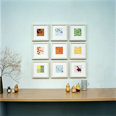 Calendar images become wall art    At month's end, clip away dates from your calendar art and frame it. Repeat every month for a collection.