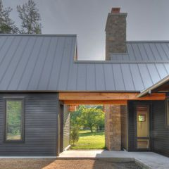"Standing seam roof (12"") flat profile. This is a nice breezeway connection... I like the color of this ZINC."