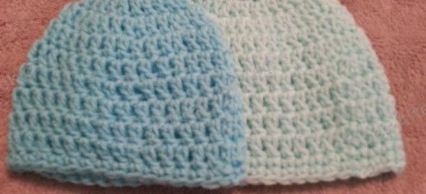 Double Crochet Baby Bonnet Pattern : Easy Peasy Baby / Infant Sized (3- 6 Months) Double ...