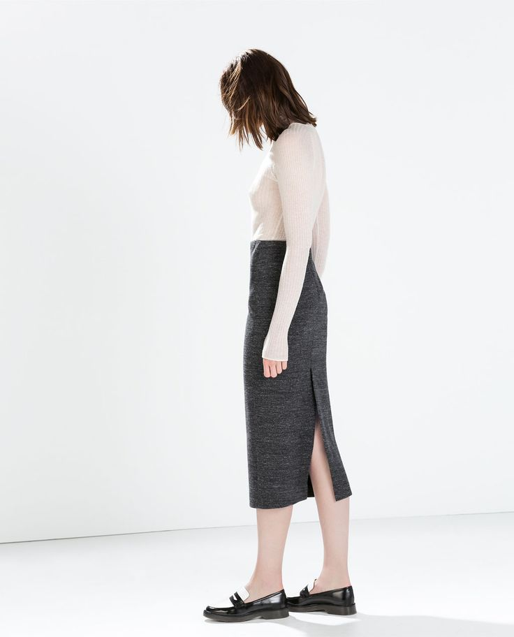 Image 1 of KNIT MIDI PENCIL SKIRT from Zara
