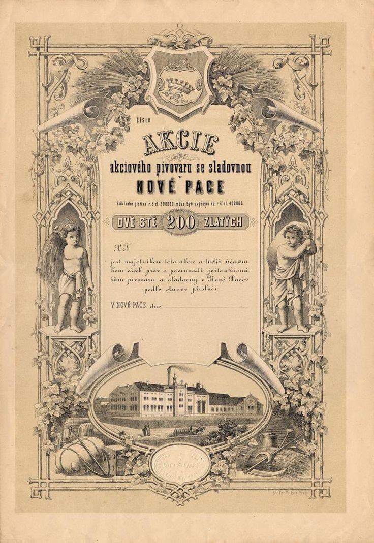 Akciový pivovar se sladovnou v Nové Pace (Bier-Actien-Brauhaus und Mälzerei in Neu-Paka). Akcie na 200 Zlatých. Nová Paka, 1872.