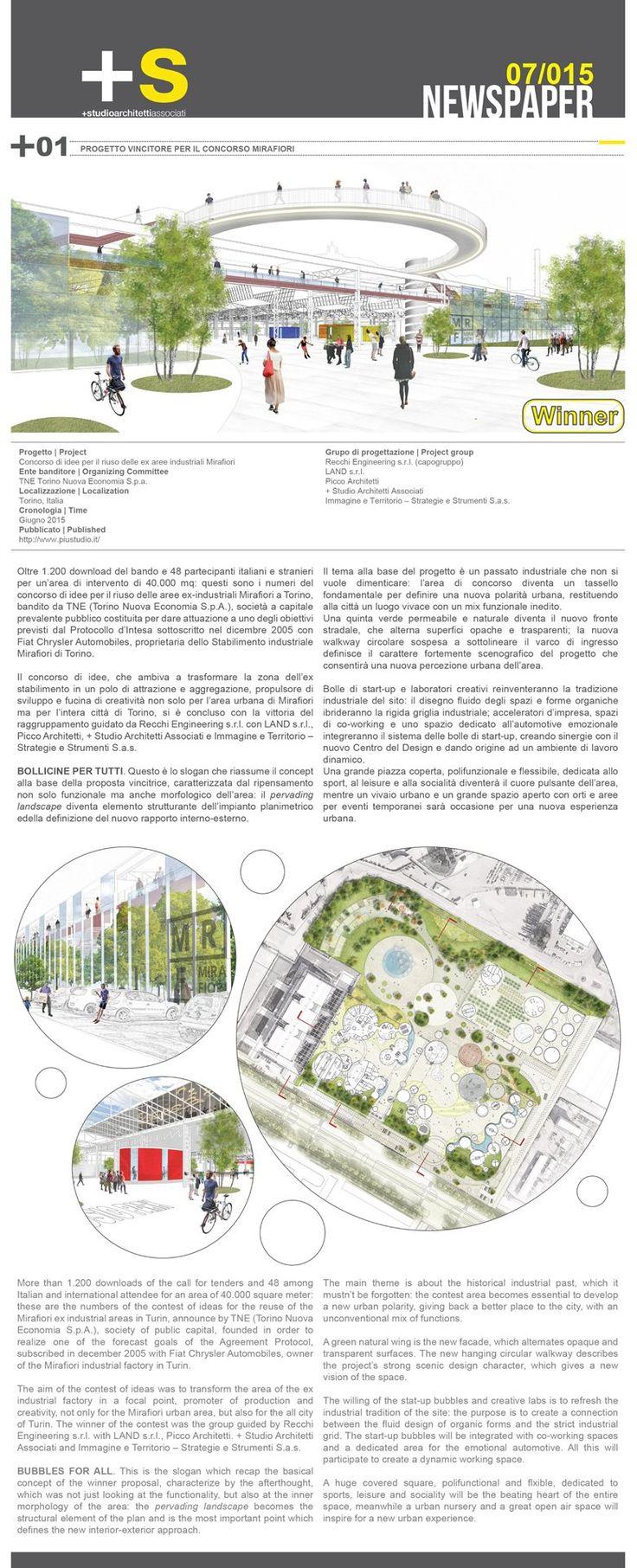 NEWSPAPER_PROGETTO VINCITORE_Concorso per il riuso delle ex aree industriali Mirafiori, Torino, 2015 - piustudio architetti associati