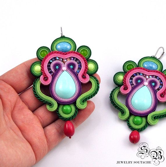 Long Colorful Soutache Earrings, Very Large Earrings Soutache, Long dangle Soutache Earrings, Statement Earrings, Orecchini earrings, OOAK ----------------------------------------------------------------------------------------------------  Long Colorful Earrings in the technique of soutache embroidery made with:  * satin soutache braids * high quality acrylic cabochon * glass beads * TOHO seed beads * high quality fire-polished beads * hypoallergenic earring hooks  Total length (without…