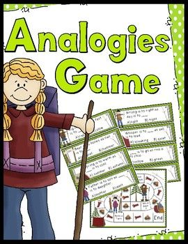 Super fun analogies game. Great practice for students learning about analogies and logic.40 analogy cards, instruction card, an answer key, and a game boardGreat supplement to add to your classroom ELA center.Enjoy!CSL...a teacher's helper