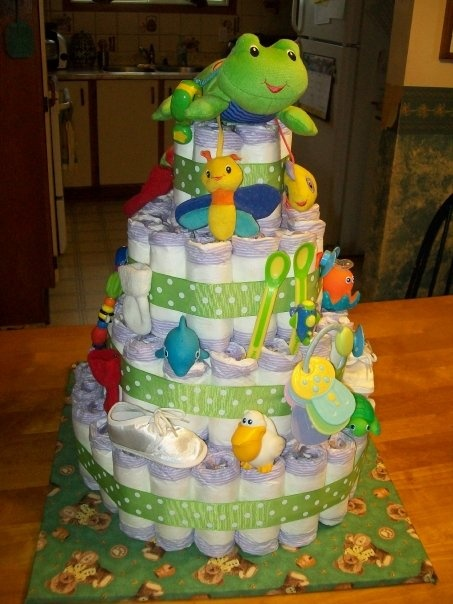 Diaper Cake with baby toys and useful baby products Prefect shower gift