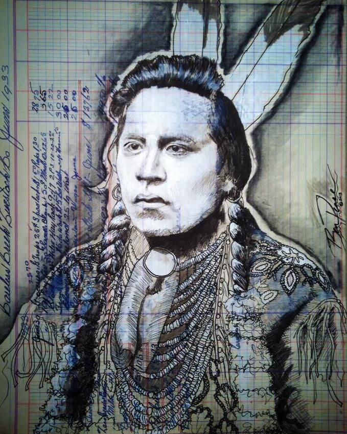 """Project #5: Best Day Ledger Art """"The Young Crow Scout""""(Curley)  by Ben Pease. This image will be used to demonstrate storytelling using traditional Native American Ledger Art as inspiration."""