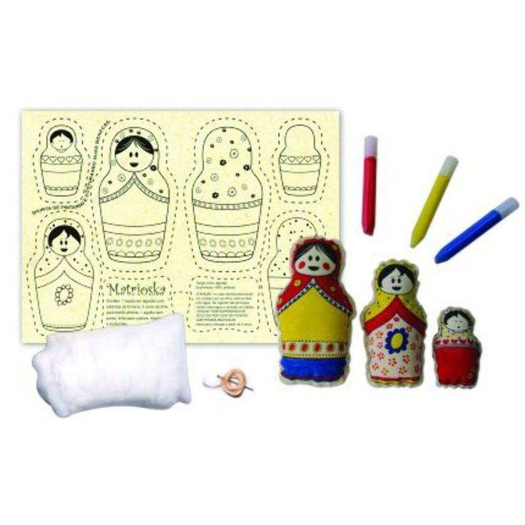 Brinquedos para costurar e pintar - Bonecas Matrioskas