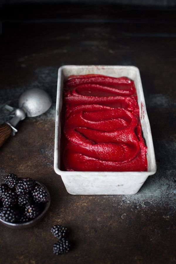 Blackberry Sage Sorbet - Sage is a surprising yet delicious addition to this cool and refreshing blackberry sorbet. | tamingofthespoon.com