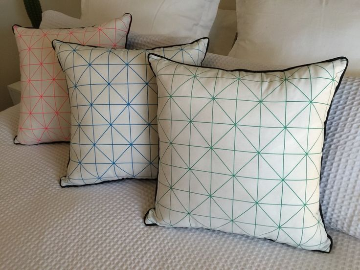 Green and White Geometric Cushion Cover 45x45cm - 100% cotton - handmade using quality materials suitable  couch, bed, chair, pillow, fluro by FintoneDesigns on Etsy https://www.etsy.com/listing/230432068/green-and-white-geometric-cushion-cover