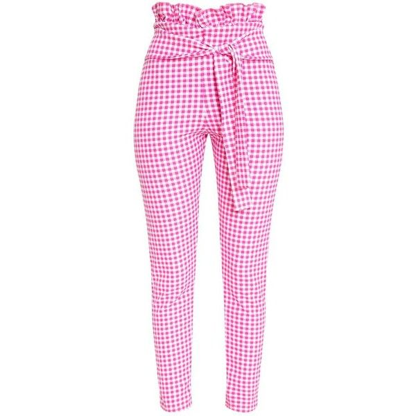 Fuchsia Gingham Paperbag Waist Skinny Trousers featuring polyvore, women's fashion, clothing, pants, pink ruffle pants, paperbag trousers, ruffle pants, gingham trousers and gingham pants
