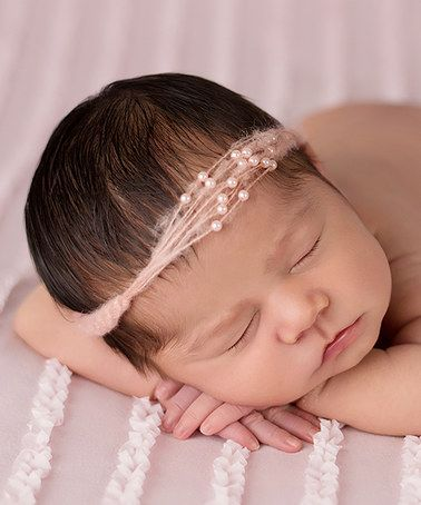 Another great find on #zulily! Peach Mohair Faux Pearl Headband by The Tiny Blessings Boutique #zulilyfinds