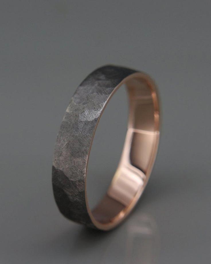 Black 14k Rose Gold Men S Wedding Ring Handmade 14k Solid Rose Gold Rough Faceted Men We Mens Gold Wedding Band Mens Rose Gold Wedding Ring Men S Wedding Ring