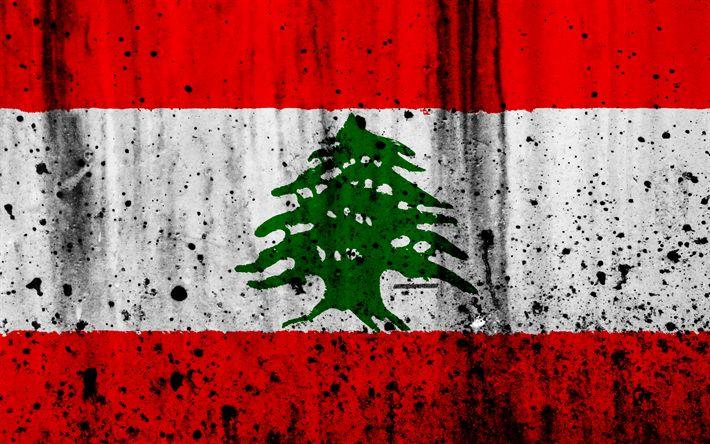 Download wallpapers Lebanese flag, 4k, grunge, flag of Lebanon, Asia, Lebanon, national symbols, Lebanon national flag