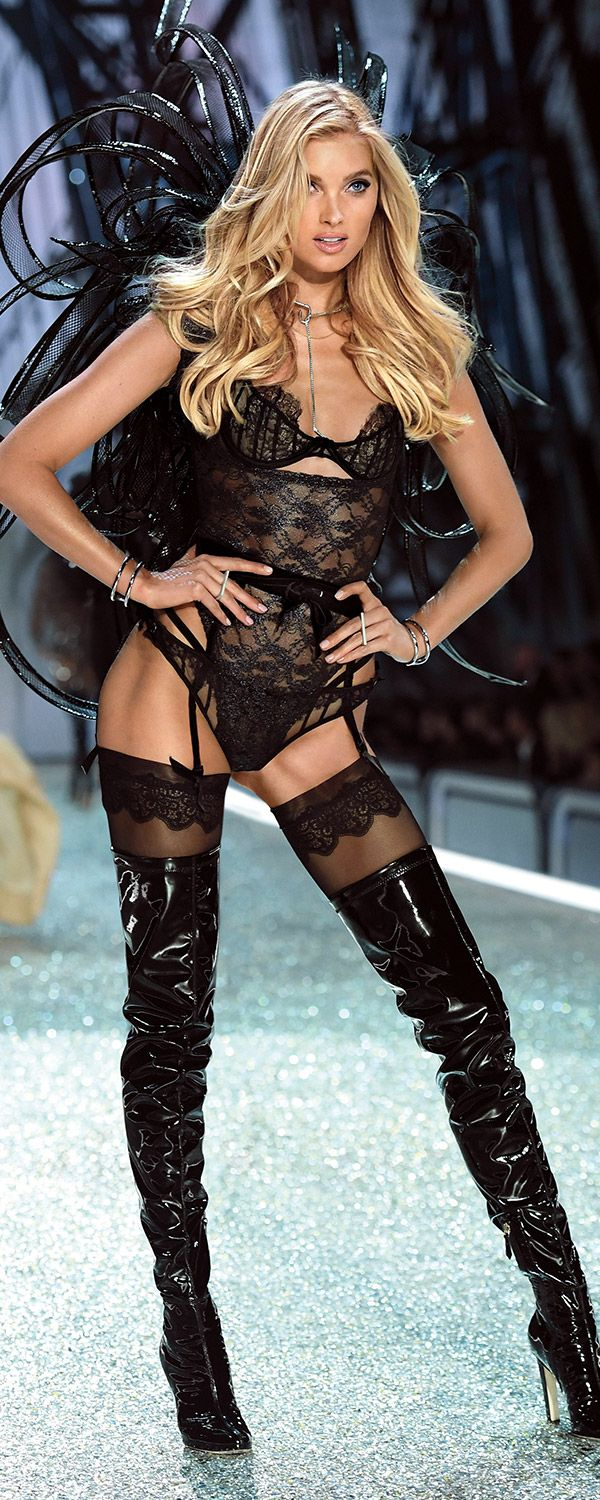 Back in black: Elsa Hosk in leather & lace. | Own The Look: Victoria's Secret Fashion Show