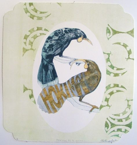 Vanessa Edwards, Hoki mai ki te manu..., etching and relief (framed) on 350 x 330 mm paper, 1 of 1, 2011. Sold.
