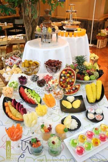 Yummy desserts to choose from at a lavish buffet breakfast or dinner at Baiyoke Sky Hotel, Bangkok, Thailand.