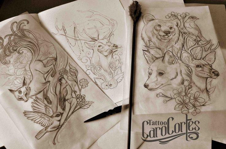 Caro cortes Colombian tattoo artist. http://carocortes.tumblr.com/ http://www.carocortes.com/ #sketch #draw #animals #female #tattoo #artist