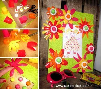 Cadre r cup pots petits suisses jeux enfants pinterest simple bricolag - Pinterest bricolage recup ...