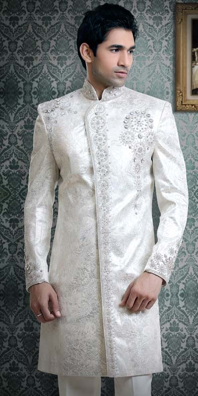 white indian wedding groom sherwani