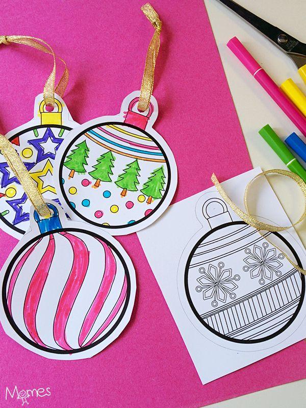 Alors ça c'est top, un coloriage qui se transforme en décoration ! On imprime les 4 boules de Noël, on les décore et on les accroche au sapin !