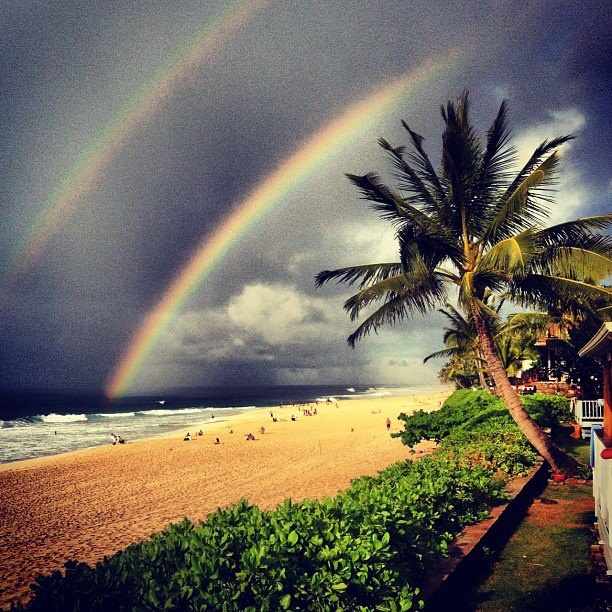 Incredible double rainbow shot to share from paradise