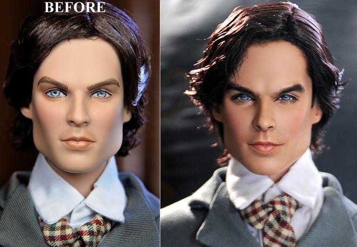 Noel+Cruz+Before+and+After | ... OOAK VAMPIRE DIARIES1864 DAMON SALVATORE doll - repaint by Noel Cruz
