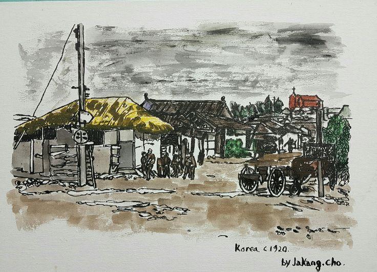 C1920 Korea #brushdrawing  #pendrawings #storytelling #DailyDrawing  #urbansketch #streetart #cityalley #dancing #charleston