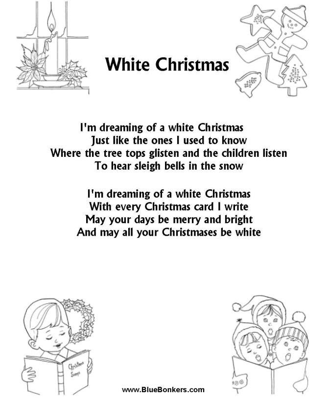 BlueBonkers: White Christmas, Free Printable Christmas Carol Lyrics Sheets : Favorite Christmas Song Sheets