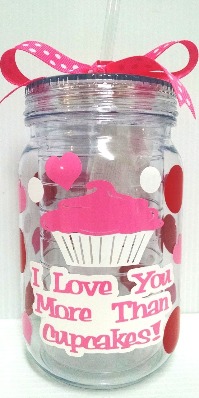 "Jodi's Accessories - ""I Love You More Than Cupcakes"" Mason Jar Tumbler with Straw, $8.00 (http://jodisaccessories.net/products/i-love-you-more-than-cupcakes-mason-jar-tumbler-with-straw.html)"