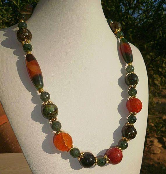 Agate necklaceGreen necklacefire agate necklacebead