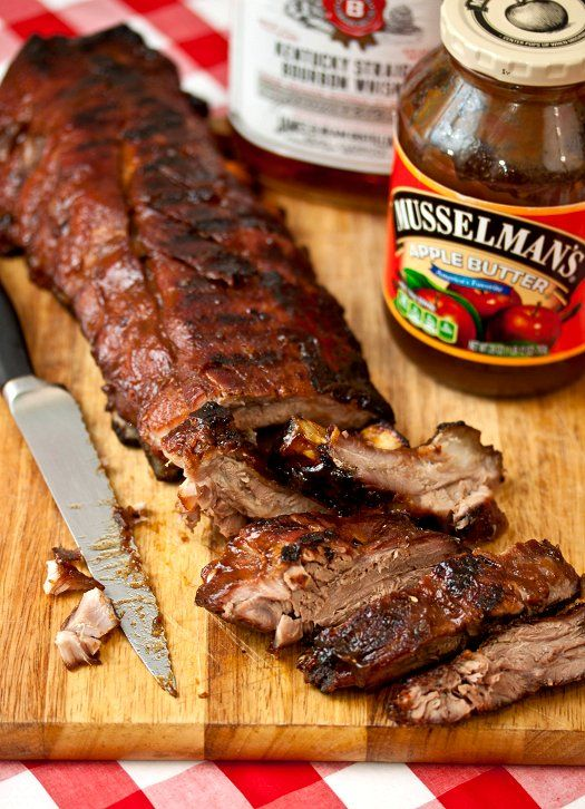 {bourbon-brown sugar ribs} smother ribs with the delicious spice rub for 6 hours to overnight. bake (in hard cider!) for 2 hours. let cool + then grill to heat + char. although a bit time consuming they require very little attention/work. a must-make summer recipe for sure!