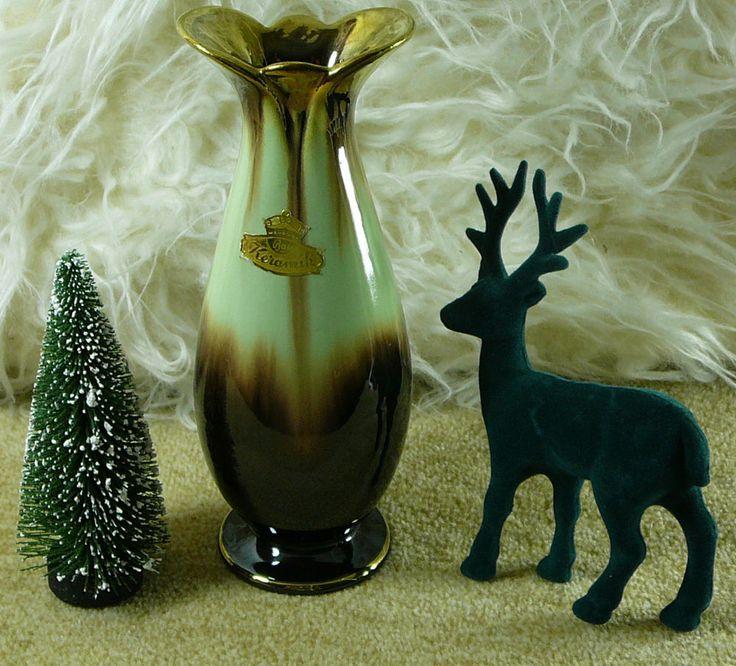 Vintage original Bay Keramik Vase gemarkt 539 17 Grüngold